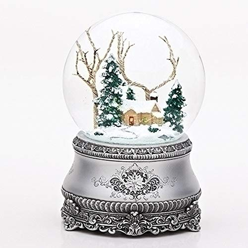 """Roman 5.5"""" Cottage with Tree Glitter Silver Base 100mm Dome Plays I'll Be Home for Christmas"""