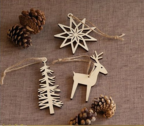 Lingdun Creative Hobbies Unfinished Wooden Christmas Ornaments , Ready to Paint or Decorate,One pack (Snowflakes, trees, moose deer)