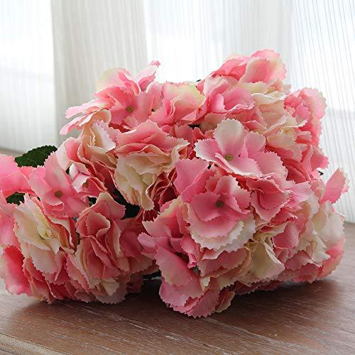 LXFLY Flores Artificiales Hogar Oficina de la Decoración Dormitorio Sala de Estar Flor Falsa Simulación Flor 5 Mallorca Hortensia Grande Polvo Profundo