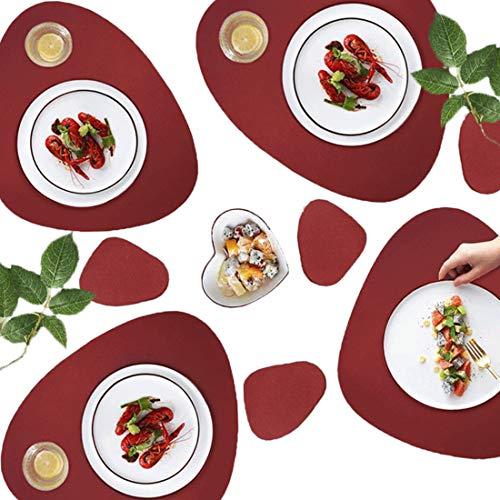 AMRTA Tischsets 4er Untersetzer 4er Lederoptik Set Groß 45×36.8cm Wassertropfen Abwischbar Platzsets Wasserdicht ölbeständig Rutschfestes Hitzebeständiges Rot