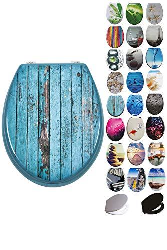 Grafner® MDF WC Sitz viele schöne Motive zur Auswahl - stabile Qualität - einfache Monatge WC Deckel Klobrille (Blue Planks)
