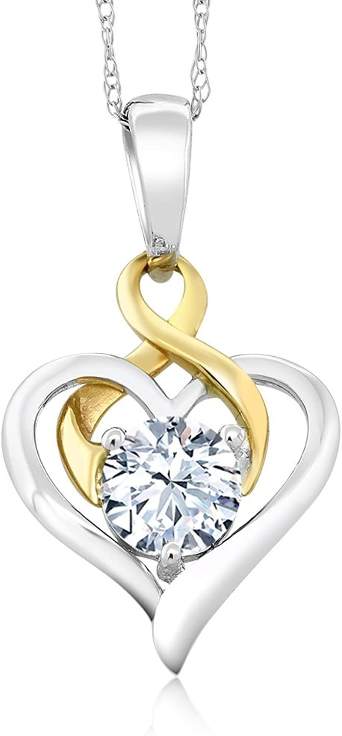 10K TwoTone gold 0.75 Ct Round White Zirconia Heart Pendant With Chain