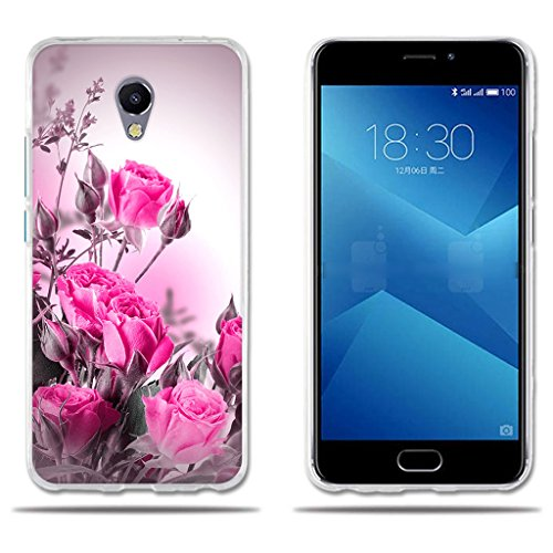FUBAODA für Meizu M5 Note 5 Hülle, [Wild Rose Flower Core] Silikon Clear TPU 3D Minimalist Ultra Thin Lightest Kreativ Slim Flexibel für Meizu M5 Note 5
