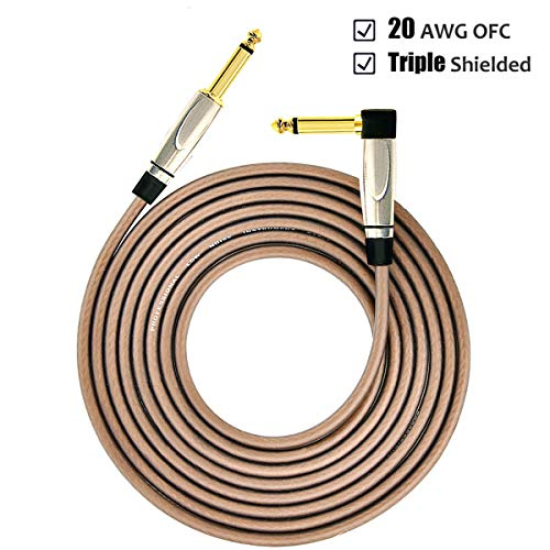 Guitar Cords for Amp 10 ft - MIMIDI Electric Guitar Amp Cable 1/4 Inch 20AWG Triple Shielded, Straight to Right Angle Bass Cables for Amplifier (Brown)