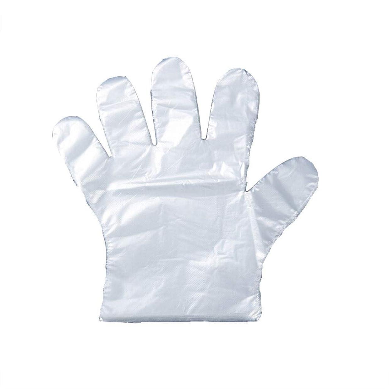 不幸津波ジェーンオースティン手袋の使い捨て手袋のフィルム家庭用キッチンの食品は、透明PEプラスチック手袋100パッケージを厚くした (UnitCount : 200)