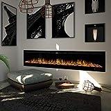 "Noble Flame Paris Schwarz 2540 (254 cm / 100"") - Elektrokamin Wandkamin Kaminofen Kamin - Wandmontage Fernbedienung - 14,5 cm Einbautiefe - 8"
