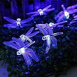EONANT Solar Dragonfly String Light 20FT / 30 LED Luces de hadas impermeables para interiores y exteriores, adecuadas para la cerca del jardín del patio, la boda, la fiesta de Navidad (Azul)