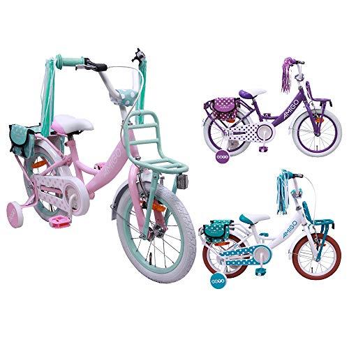 AMIGO Dots - kinderfiets - 12 inch - meisjes - met zijwieltjes en terugtraprem - vanaf 3 jaar - Roze