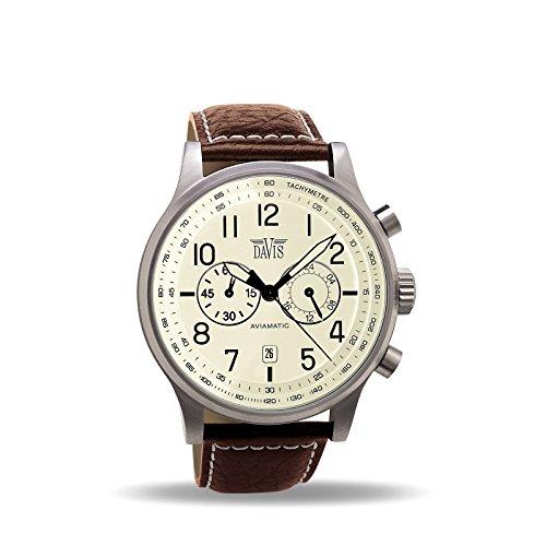 Davis - Herren Aviation Uhr Chronograph Wasserdicht 50M Datum Lederarmband (Beige/Braun Leder)