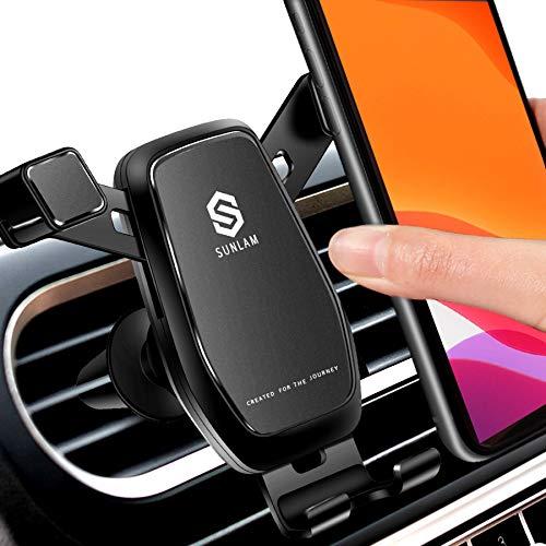 【最新進化版】SUNLAM 車載ホルダー スマホホルダー 車 スマホスタンド 自動開閉 重力固定式 スマホ車載ホルダー エアコン 吹き出し口用 クリップ式 携帯ホルダー 車 超安定 取り付け簡単 片手操作 360度回転可能 安定性抜群 iPhone/Sam
