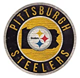 Fan Creations Pittsburgh Steelers Wood Sign 12 Inch Round State Design