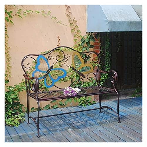 Banco al aire libre Banco de patio, muebles de porche delantero, silla retro de hierro forjado, silla doble de jardín para patio al aire libre, banco con respaldo de metal a prueba de óxido para