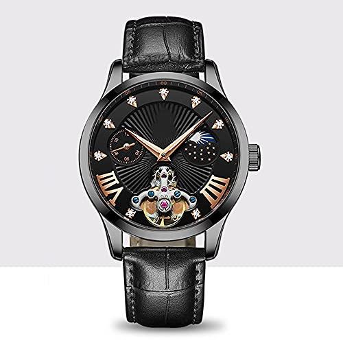 La Moda Relojes Hombre, Negocios Cuarzo Simulado,Relojes De Pulsera Cronografo Diseñador Impermeable ,Acero Inoxidable Cinturón De Malla Relojes De Pulsera (Color : Black)