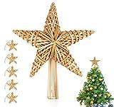 Homewit 6-teilig Weihnachtsbaumspitze Stern Set aus Stroh 30 x 25 cm, Christbaumspitze aus natürlichem Material, Groß Strohstern-Spitze für den Weihnachtsbaum Christbaumspitze Stern Christbaumschmuck