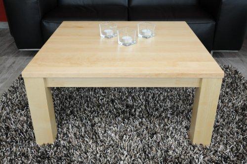 Couchtisch-Tisch 80x80cm Birke / Echtholz / Massivholz / Höhe 42 cm