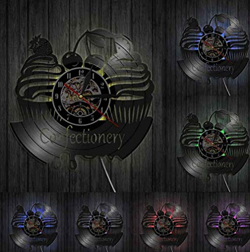 DADAF Zoetwaren Muur Teken Wandklok Snoepjes Cupcakerecord Wandklok Bakkerij Kersen Taart Decoratieve Klok