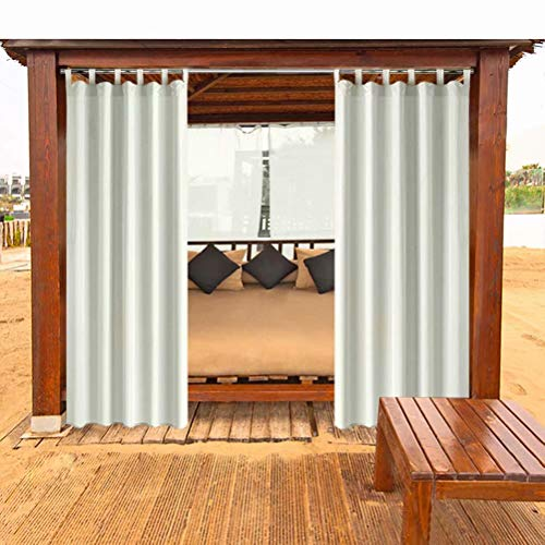 DOMDIL Outdoor Curtains with Velcro, Blackout and Mould Resistant Gazebo Awnings, Perfect for Gardens and Balconies 132x275cm Cream White