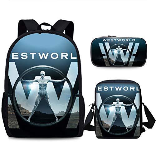 Westworld Casual Backpack Backpack Set 3 Pieces Casual Backpack+Shoulder Bag+Pencil Case Multicolor Daypack Trendy Design Travel Bag Children Portable School Bag Lightweight Hiking Bag Kids