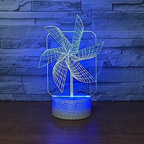 3D Nachtlicht 3D Nachtlicht für Jungen Einzigartige Produkte Windmühle Nachtlicht Kreative Sieben-Farben-Nachttischlampe Augenschutz 3D-Lampe Hersteller Großhandel