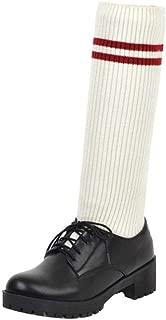 ELEEMEE Women Block Heel Hosiery Boots Lace Up