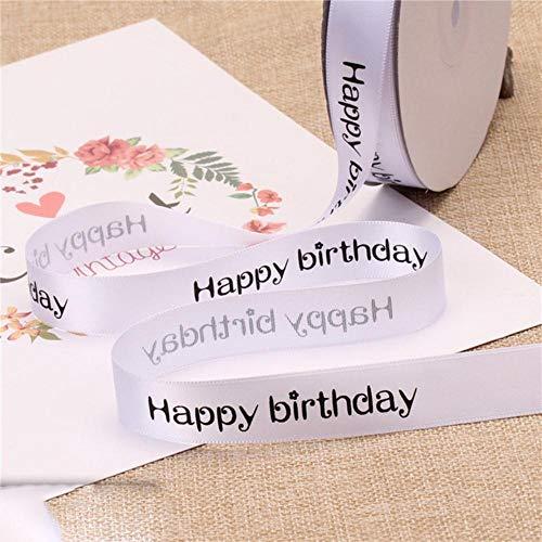 Hot 2 cm feliz cumpleaños cintas de satén de poliéster diy bow cake shop hornear impreso embalaje floral regalos accesorios material cinta-blanco, 5 metros