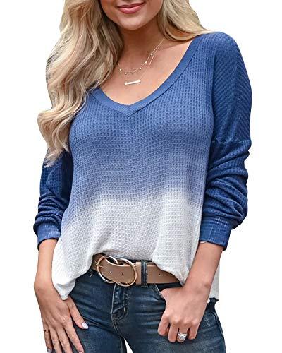 YOINS Mujer Suéter Manga Larga Pullover Gradiente Jersey con Cuello En V Suéter Camiseta Deportiva Casual Top Primavera Y Verano Azul S