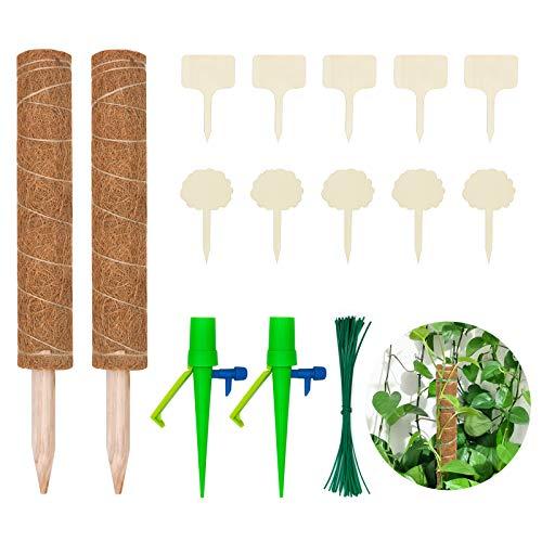 Halcyerdu 2 Stück 40 cm Kokosstab, mit 10 Pflanzenschilder, 50 Pflanzenbinder und 2 Automatisch Bewässerung, für Zimmerpflanzen, Pflanzstab Kokos Rankstab Rankhilfe Blumenstab