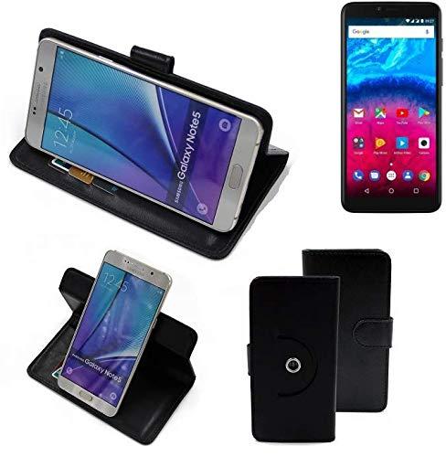 K-S-Trade® Hülle Schutz Hülle Für Archos Core 57S Handyhülle Flipcase Smartphone Cover Handy Schutz Tasche Bookstyle Walletcase Schwarz (1x)