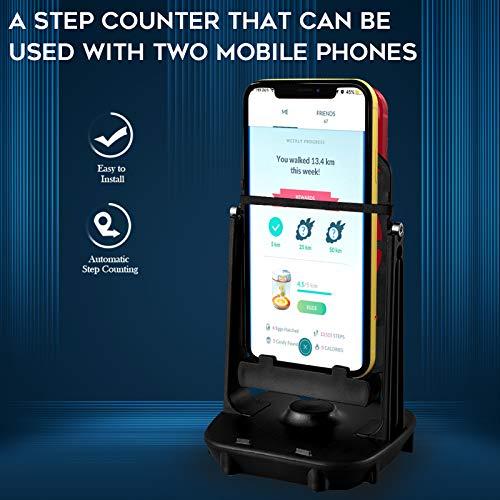 NEWZEROL Accesorios para Columpios de Teléfono Podómetro Pokemon Go para Teléfono Celular, [Cable USB][Soporte para 2 Teléfonos] Pasos Rápidos Dispositivo para Ganar Pasos - Negro