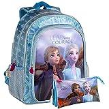 Disney Frozen Pack, Lote Mochila + portatodo para Niñas, Azul, Mediano