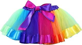 SENLIXIN Layered Skirt Girls' Mini Rainbow Tutu Skirt Bow Dance Dress Colorful Ruffle Tiered Tulle