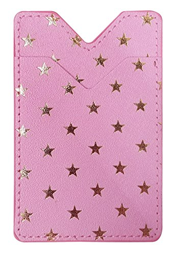 カードポケットステッカー (星ピンク) カードケース カード入れ PUレザー カラフル スリム 薄型 スマートフォンやスマホケースに貼るだけ ICカード 定期券 カード収納 ステッカー シール かわいい おしゃれ オシャレ sslink