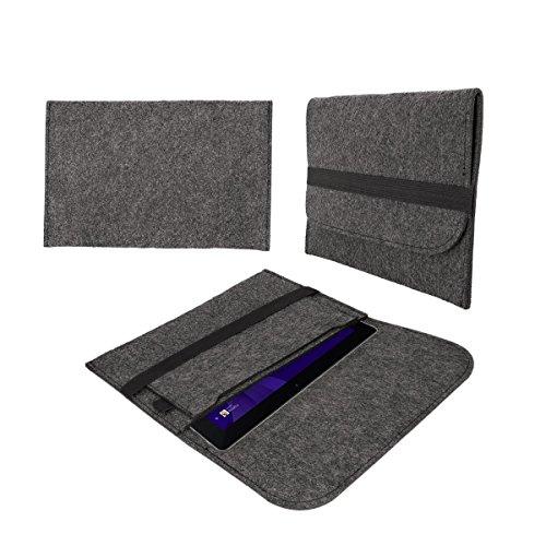 eFabrik Schutz Tasche für TrekStor SurfTab wintron 10.1 3G (10,1 Zoll) Volks-Tablet pro Filz Hülle Sleeve dunkelgrau