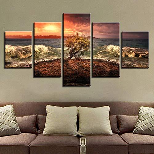 SGJKG Moderne Afdrukken Poster Modulaire Canvas Fotos 5 Stuks Boom Fierce Zee Water Zeegezicht Schilderijen Decor Voor Woonkamer Muur Art