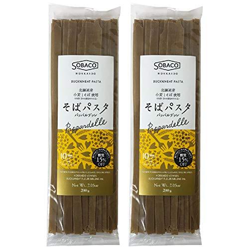 北海道産小麦粉 そば粉使用 そばパスタ パッパルデッレ 10.0mm ×2個