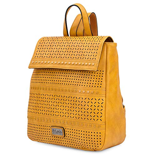 Lois - Small Casual Design damesrugzak. PU leer. Ideaal voor dagelijks gebruik, wandelen of reizen. Resistente sterke praktijk en kwaliteit. Origineel merk 306799, Color Mosterd