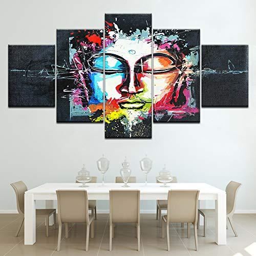 Zaosan Modulares Bild der modernen Malkunstkunst an der Wand 5 bunter bunter Buddha gemalt auf Leinwand für Wohnzimmerdekoration abstrakt
