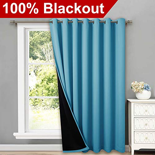 NICETOWN Total Shade Patio Door Curtain, Heavy-Duty Full Light Shading Sliding Door Drape Room Divider Curtain, Vertical Blind for Window(Teal Blue, 1 Panel, 100 inches Wide x 95 inches Long