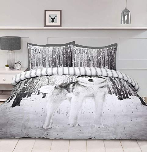 Night Comfort 3D Wolf Print Duvet Cover Cotton Blend Bedding Set With Pillowcases (King Size)