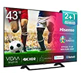 Hisense H43BE7200 - Smart TV 43' 4K Ultra HD con Alexa Integrada, Wifi, HDR, Dolby DTS, Peana Central, Procesador Quad Core, Smart TV VIDAA U 3.0 con IA
