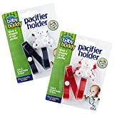 Baby Buddy 2 Piece Unisex Pacifier Holder Clip for Babies, Navy/Red, 4 Months and Up