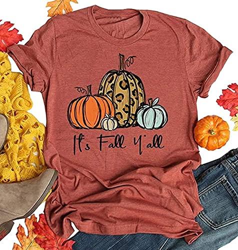 Its Fall Yall Graphic Shirt Women Thanksgiving Pumpkin Splicing Sleeve Fall Shirt Tops (Orange, X-Large)