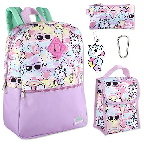 Trailmaker 5 in 1 Full Size Character School Backpack and Lunch Bag Set For Girls (Unicorns)