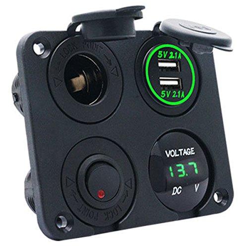 MASO 4 en 1 4.2A Prise Allume Cigare Double USB Chargeur Voltmètre Adaptateur Vert