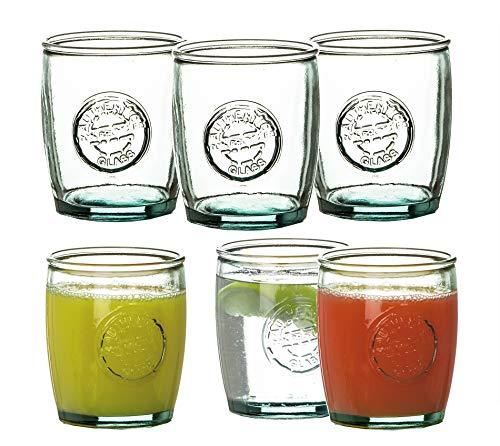 6x Trinkgläser 400 ml Tumbler in schwerer Qualität - Made in Spain - Aus 100% Recycling-Glas - Ideale Dekoration für Sommer-Partys - Für Cocktails, Softdrinks, Alkohol, Säfte & andere Getränke