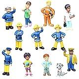 JPYH 12 Pcs Decoración para Tarta de Bombero Mini Figuras Bombero para decoración de Cupcakes Sam El Bombero para niños, Fiestas de cumpleaños o Fiestas temáticas