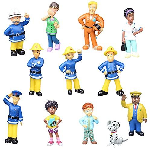 JPYH 12 Pcs Feuerwehrmann Cake Topper Feuerwehrmann Sam Mini Figuren Set Geburtstags Party liefert Mini Anime Figur Modelle Cake Topper für Kinder