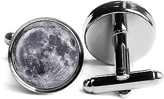NASA Photograph The Moon Der Mond Fotografie Rhodium Silber Manschettenknöpfe
