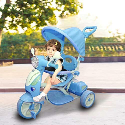 REPLOOD Triciclo Vespina per Bimbo Bambini con Cappottina e Maniglia Direzionabile con Luci e Suoni (Blu)