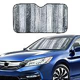 VaygWay Windshield Sun Shade Car- Foldable Window Cover Visor Shield- UV Rays Reflector Auto Accordion Protector- Front Window SUV Heat Blocker- 49 x 23 Metallic Reflective Large Vehicle Sunshade